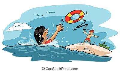 ahogo, mujer, rescates, hombre