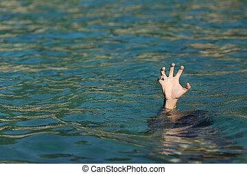ahogo, océano, hombre, mano