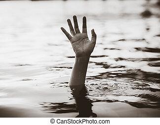 ahogo, rescate, help., concept., necesitar, mano, fracaso, ...