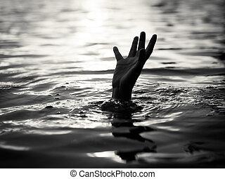 ahogo, rescate, help., concept., necesitar, víctimas, mano, ...