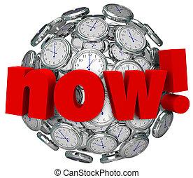 ahora, palabra, clocks, el tiempo pasar, urgente, acción, requerido