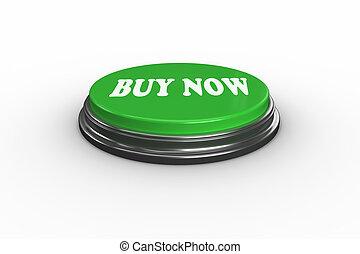 ahora, verde, digitalmente, empujón, generar, botón, comprar