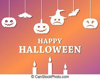 ahorcadura, calabazas, gradiente, ilustración, fondo., 31st., murciélagos, octubre, feliz, poster., halloween, vector, feriado