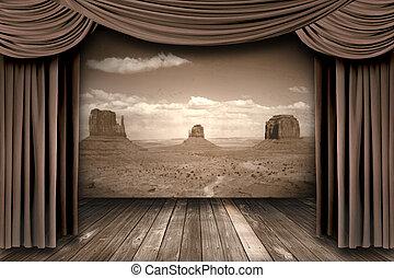 ahorcadura, etapa, teatro, cortinas, con, un, desierto, plano de fondo