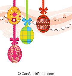 ahorcadura, huevos de pascua, y, cintas, plano de fondo