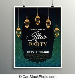 ahorcadura, iftar, islámico, plantilla, invitación, linterna...