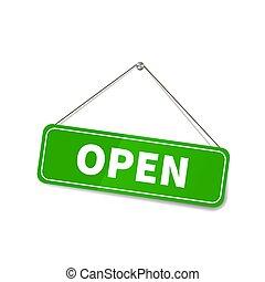 ahorcadura, soga, abierto, blanco, señal, brillante, tienda, puerta, brillante