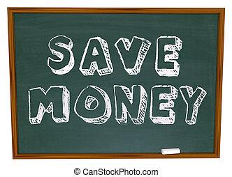 ahorre dinero, ahorros, pizarra, palabras, educación