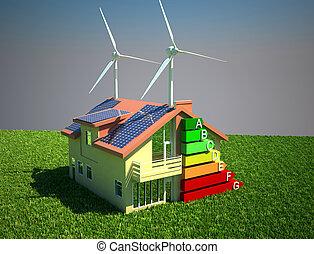 ahorro, casa, concepto, energía