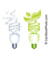 ahorro, concepto, bombilla, energía