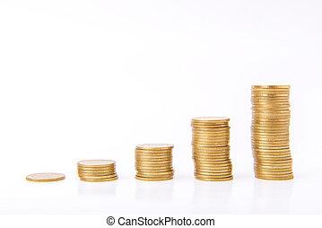 ahorro, concepto de la corporación mercantil, dinero, crecer, moneda, pila