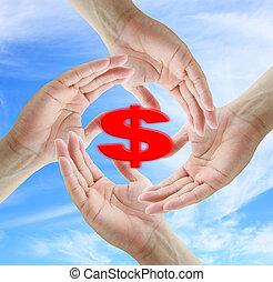 ahorro, dólar, concepto