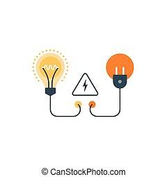 ahorro, electricidad, energía, conexión, suministro, ...