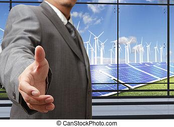 ahorro, empresa / negocio, energía, mano, ofertas, sacudida, hombre