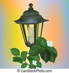 ahorro, energía, metal, luminiscente, lámpara, calle, falsificado, linterna