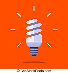 ahorro, forma, lámpara, naranja, espiral, fondo., energía