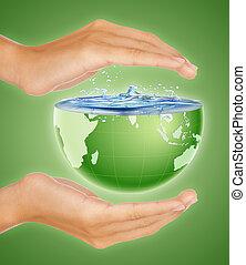 ahorro, la tierra, concepto