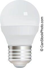 ahorro, luz, energía, fondo., bombilla, blanco