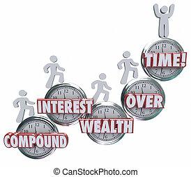 ahorro, riqueza, gente, encima, reloj, mon, interés, compuesto, palabras, tiempo