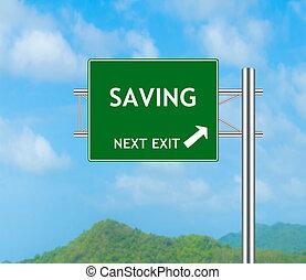 ahorro, verde, muestra del camino, concepto