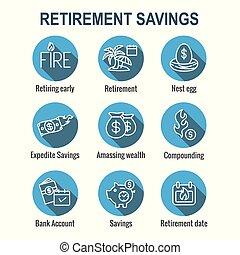 ahorros, ahorrillos, conjunto, más, -, calendario, icono, ...