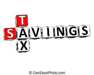 ahorros, crucigrama, 3d, impuesto
