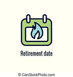 ahorros del retiro, icono, imágenes, y, monetario, saliente