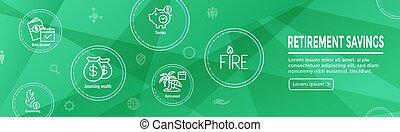 ahorros, encabezamiento, conjunto, icono, tela, bandera, ...