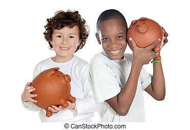 ahorros, feliz, niños, dos, hucha
