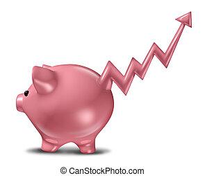 ahorros, ganancias