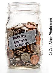 ahorros, moderno, cuenta