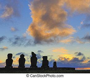 ahu, 日没, moai, イースター島, akivi