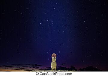 Ahu Ko Te Riku moai with eyes in Rapa Nui at night with...