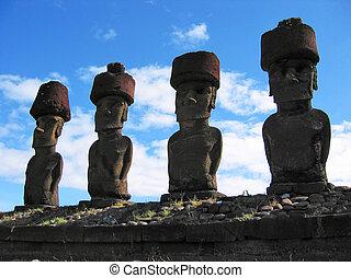 ahu, nau, nau., moai, de, isla de pascua