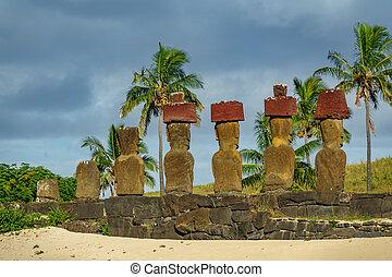 Ahu Nau Nau rear view in Anakena beach, Rapa Nui - Ahu Nau...