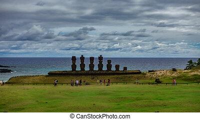 Ahu Nau Nau time lapse in Anakena beach, Rapa Nui - Ahu Nau...