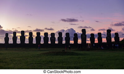 Ahu tongariki sunrise timelapse with high contrast - Ahu...