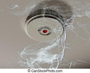 ahumado, alarma, habitación, humo
