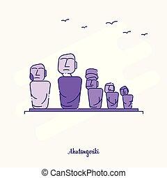 AHUTONGERIKI Landmark Purple Dotted Line skyline vector illustration