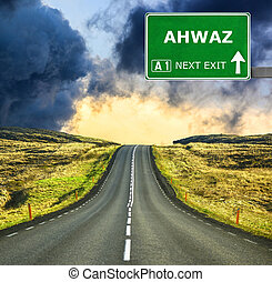 AHWAZ road sign against clear blue sky