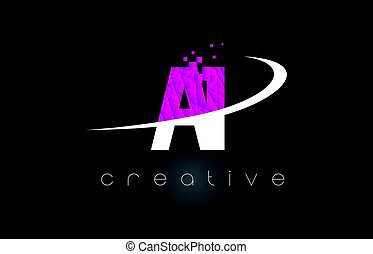 AI A I Creative Letters Design With White Pink Colors