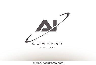 ai a i  swoosh grey alphabet letter logo