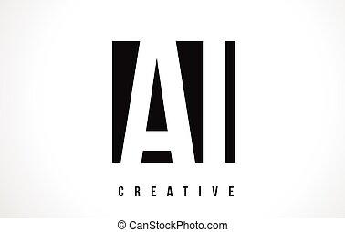 AI A I White Letter Logo Design with Black Square.