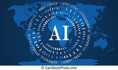 AI - abstract Artificial Intelligence background - rotating circles of random varying binary code with flickering letters in the center - blue world map background