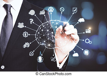 AI and computer concept. Businessman hand pounting at abstract artificial intelligence interface. 3D Rendering