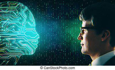 Attractive european businessman with glowing digital circuit head. AI and innovation concept.