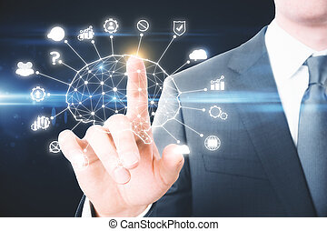 AI and mind concept. Businessman hand pounting at abstract artificial intelligence interface. 3D Rendering