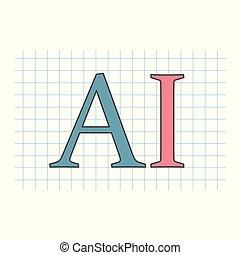 ai, (artificial, intelligence), geschreven, op, checkered, papier, blad