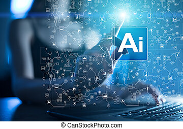 AI, Artificial intelligence, machine learning, neural networks and modern technologies concepts. IOT and automation