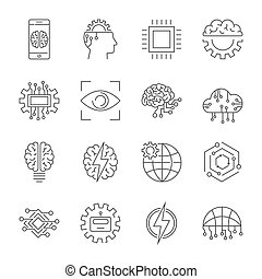 ai, (artificial, intelligence), pictogram, set., editable, stroke.